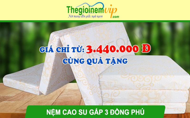 Nệm cao su thiên nhiên gấp 3 Đồng Phú: Giá từ 3.440.000 đ + Quà